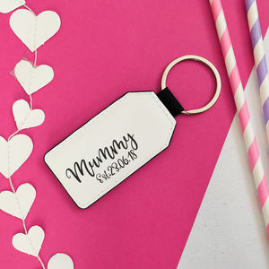 Personalised Mummy Est Black And White Keyring