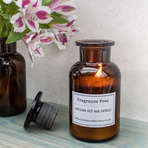 Fragrance Free Laboratory Bottle Soy Candle - candles