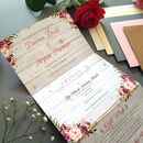 Blush Floral On Wood Wedding Invitations