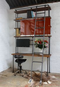 Nascha Industrial Desk And Shelf Unit - desks