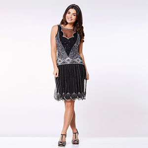 Elaina Drop Waist Flapper Gatsby Dress In Black - view all new