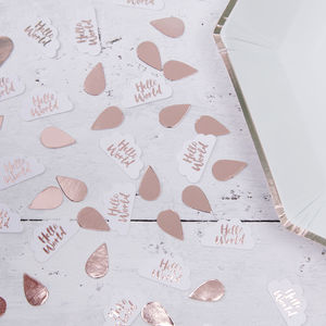 Rose Gold Foiled Baby Shower Table Confetti - confetti, petals & sparklers