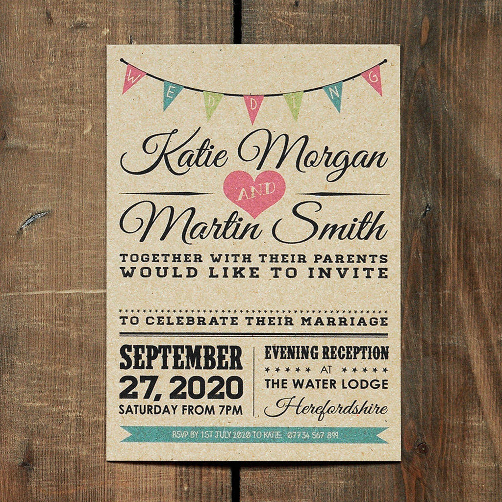 Vintage bunting kraft wedding invitation by feel good wedding vintage bunting kraft wedding invitation stopboris Images