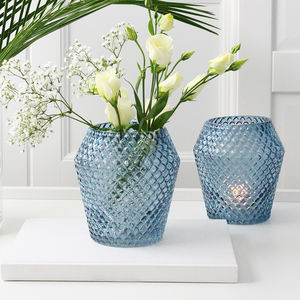 Blue Cut Glass Vase - weddings sale
