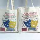 Personalised All The Drama Theatre Bag - Cotton bag (on left), and Canvas bag