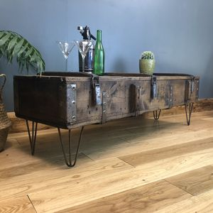 Upcycled Vintage Wooden Trunk Coffee Table