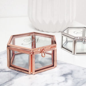 Personalised Mini Glass Jewellery Box With Initial - new in home