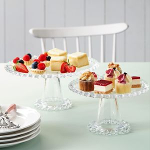 Set Of Two Glass Cake Stands - cake stands