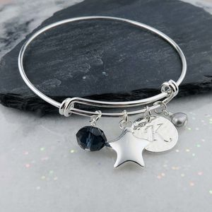 Personalised Silver Star Bangle - bracelets & bangles