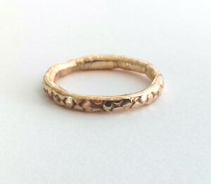 Narrow 9ct Gold Textured Wedding Ring Or Stacking Ring