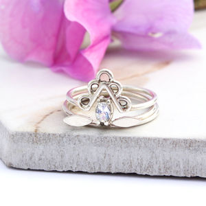 Aeneas, Dara And Vali Sterling Silver Boho Stack Rings - rings