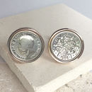 Personalised Sixpence 1928 To 1967 Cufflinks