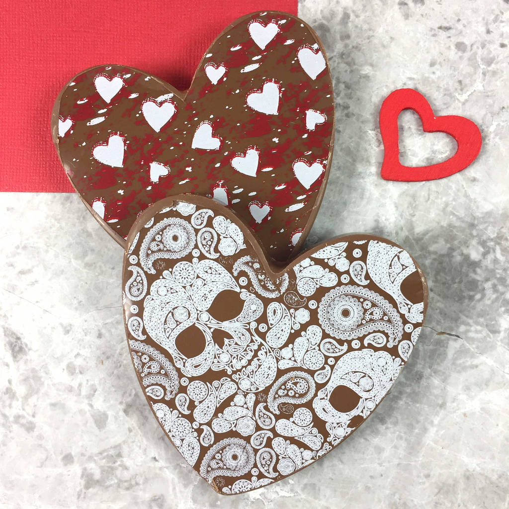 Chocolate Hearts With Hearts And Skulls