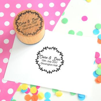 Personalised Botanical Wreath Couple Stamp