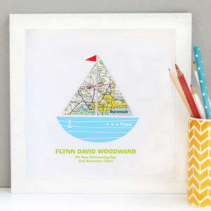 Personalised Baby Boy Map Boat Artwork