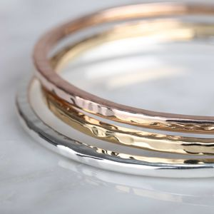 Triple Silver, Gold And Rose Gold Bangles - bracelets & bangles