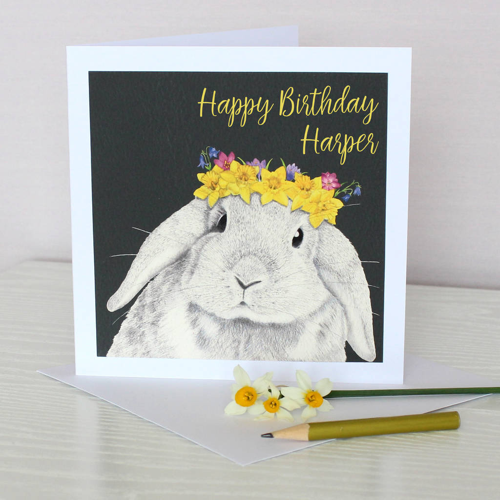 Spring Bunny Birthday Card