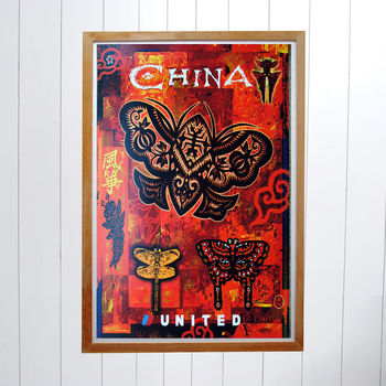 Original United Airlines Travel Poster, China