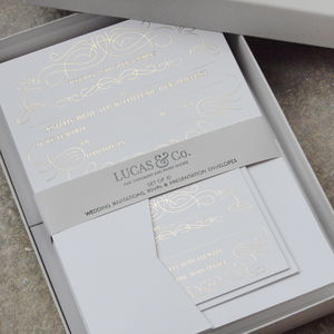 Luxury Ready To Write Gold Foil Invitation Set Of 10 - wedding stationery