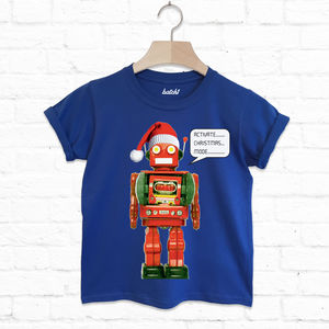 Activate Christmas Mode Kids Christmas Robot T Shirt - summer sale