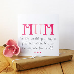 World To Me Mum Card - personalised mother's day gifts