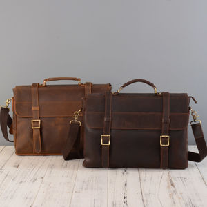Leather Laptop Satchel Bag - laptop bags & cases