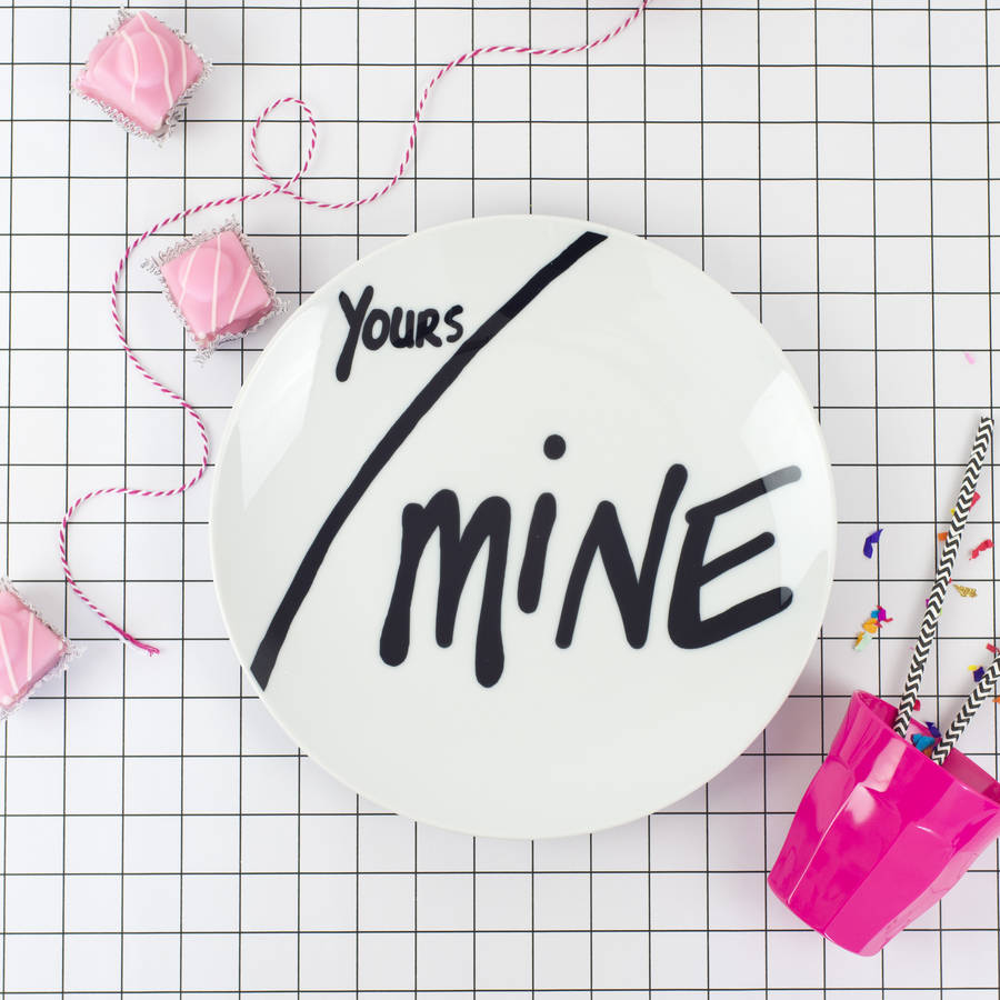 Yours And Mine Ceramic Valentines Treats Plate