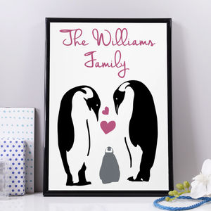 Personalised Family Penguin Print - nursery pictures & prints