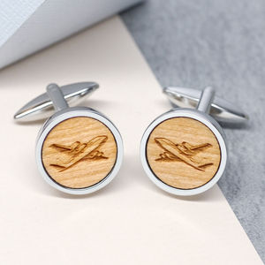 Wooden Aeroplane Cufflinks - frequent traveller
