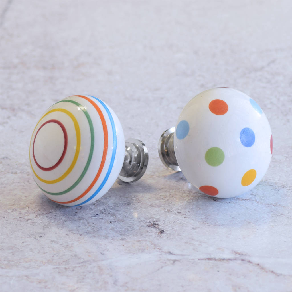 large colourful ceramic spotted striped cupboard knobs by pushka ...