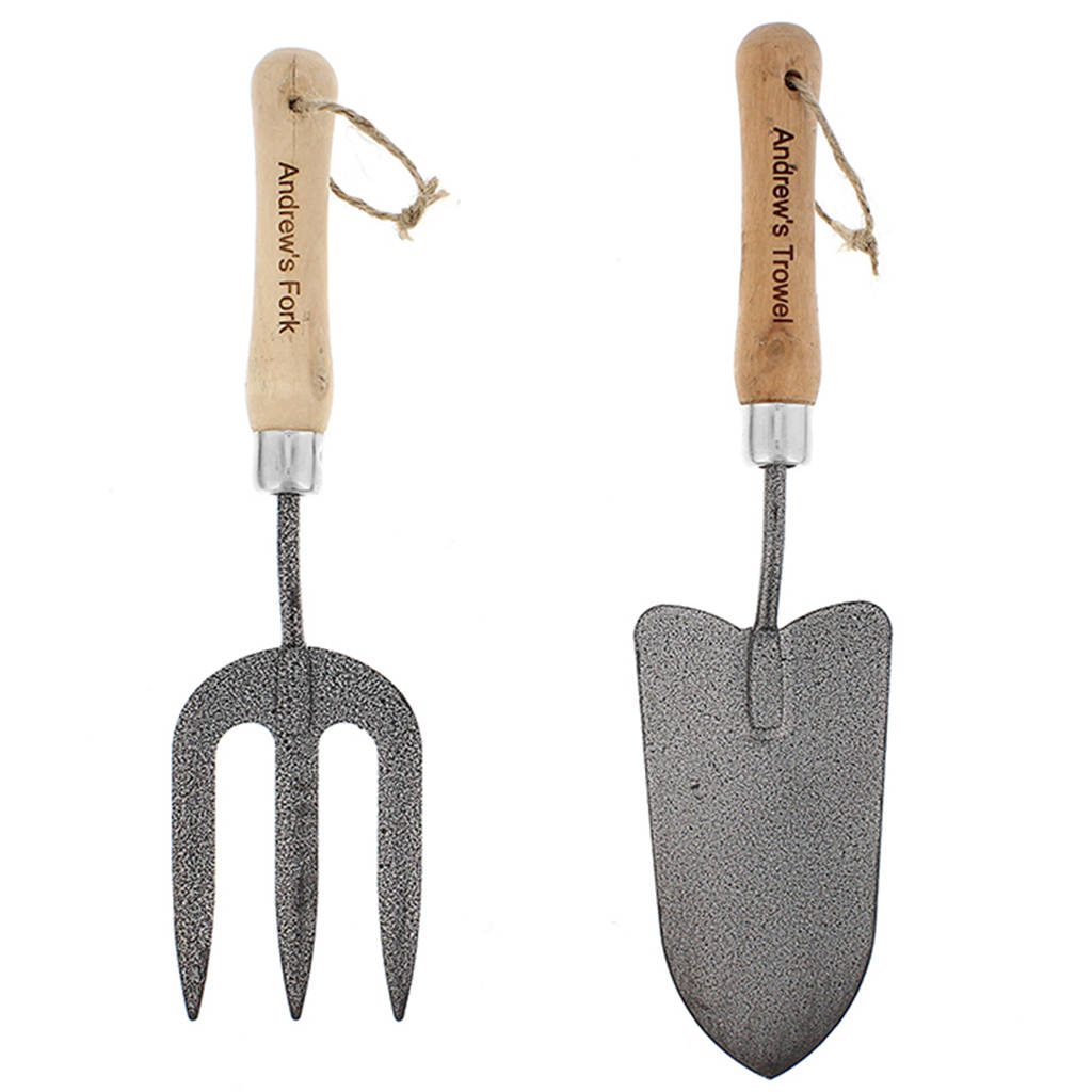 Personalised trowel and fork gift set by thelittleboysroom for Ladies garden trowel set