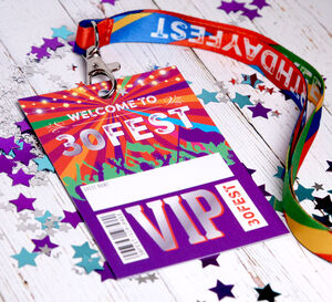30 Fest 30th Birthday Party Vip Pass Lanyard Favours