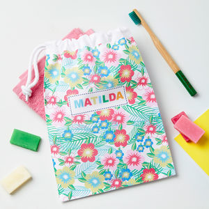 Girls Personalised Tropical Flower Wash Bag