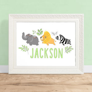 Personalised Jungle Themed Children's Art Print - posters & prints