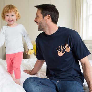 Personalised Handprint On Heart Daddy T Shirt