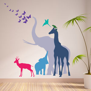 Seven Safari Animal Wall Stickers New Sizes - home accessories