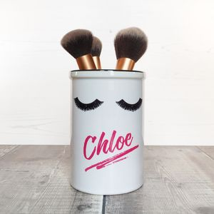 Personalised 'Eyelashes' Make Up Brush Holder Pot