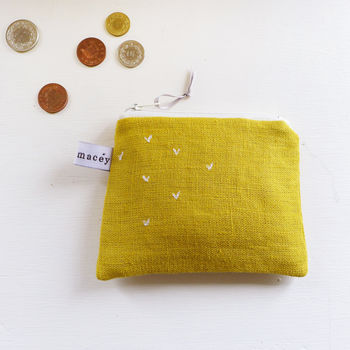 Embroidered Sprigs Coin Purse - Mustard Yellow