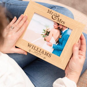 Personalised Mr And Mrs Wedding Photo Frame - 5th anniversary: wood