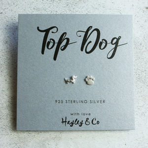 Sausage Dog And Paw Print Silver Earrings