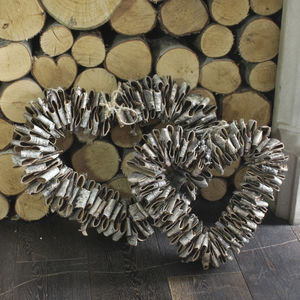 Large Birch Heart Wreath