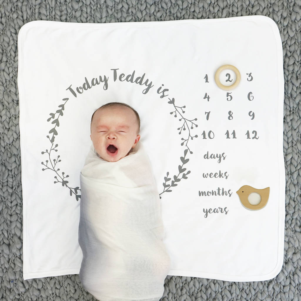 Baby gift sets gift set gifts for babies notonthehighstreet personalised baby age botanical blanket set blankets comforters throws negle Images