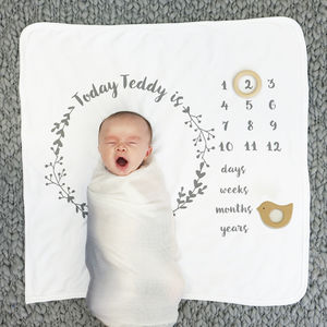 Personalised Baby Age Botanical Blanket Set - gifts: under £25