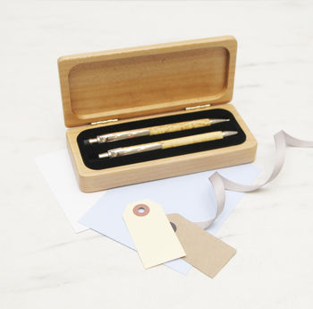 Personalised Pen Box With Pen And Pencil