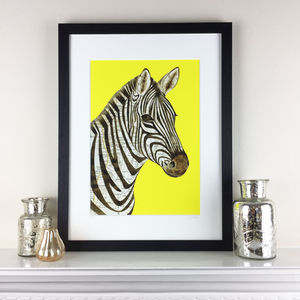 Yellow Zebra Limited Edition Map Print - limited edition art