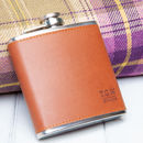Brown Faux Leather Initials Hip Flask And Funnel