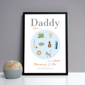 Personalised Dad, Daddy Or Grandpa 'Likes' Print