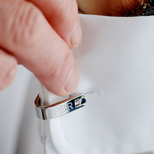 Contemporary Personalised Silver Wrap Cufflinks - cufflinks