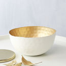 White And Gold Rippled Edge Bowl