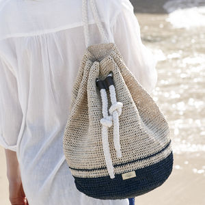 'Ecuador' Hand Crocheted Raffia And Rope Duffle Bag - accessories